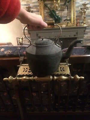 Antique Cast Iron Kettle With Brass Fireplace Stand