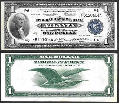 1918 $1~Large Size~National Currency Note Atlanta~Crisp Almostuncirculated