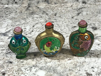 Lot of 3 Vtg Chinese Snuff Bottle Hand Painted Koi Fish Decorate Brass
