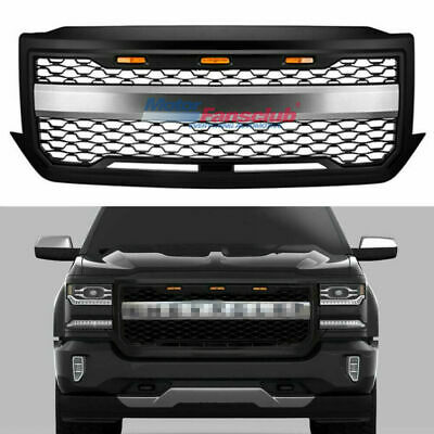 Front Grill For 2016-2018 Chevy Silverado 1500 Matte Black Grille w/ 3 LED Light