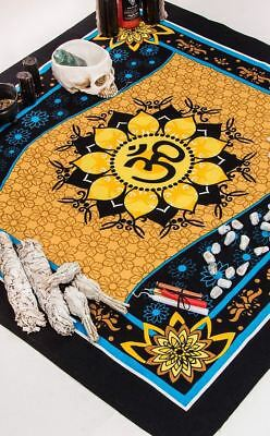 Witchy Wicca Occult Boho Black Blue Yellow Om Print Altar Table Cloth Square