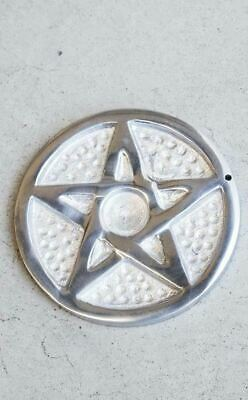 Witch Wicca Gothic Occult Silver Pentacle Incense Burner Polished Aluminium
