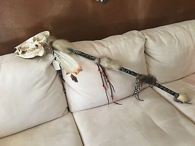 Antique Native American Ceremonial Burial Stick  Javelina Skull Bear Buffalo Fur