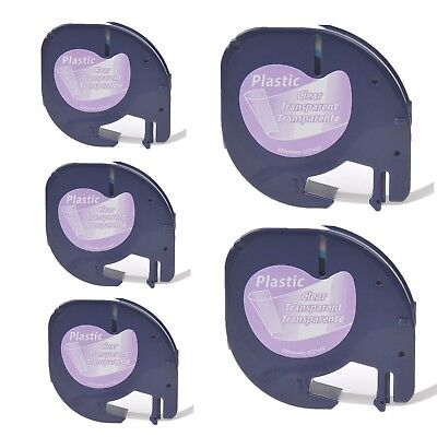 5PK Platic Label Tape compatible with DYMO Letra Tag LT 16952 Black on Clear