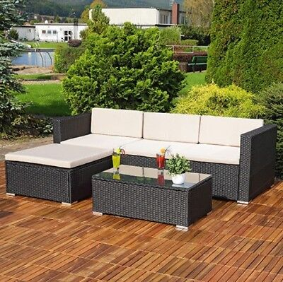 5 Piece Rattan Garden Furniture Sofa & Coffee Table Set- **black**