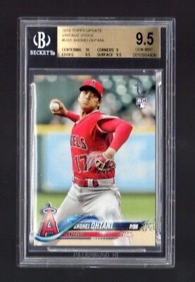BGS 9.5 Shohei Ohtani 2018 Topps Update #US1 Vintage Stock RC 8/99 ROY POP 1