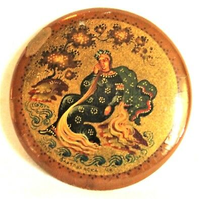Antique Victorian Hand Painted Greek? Woman Lacquer Pin-Signed-Russian?