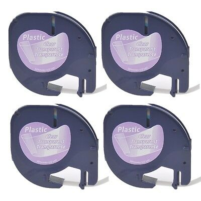 4PK Plastic Label Tape for DYMO Letra Tag 16952 12267 Black on Clear 1/2""