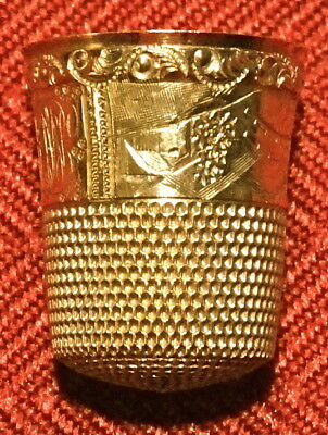 Antique Yellow Gold Ornate Monogrammed Sewing Thimble with Original Case