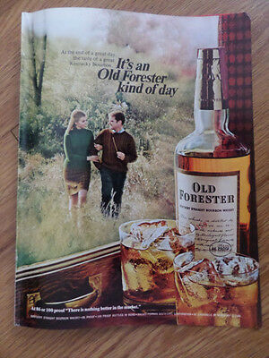 1968 Kentucky Old Forester Whiskey Ad  It's OF Kind of Day