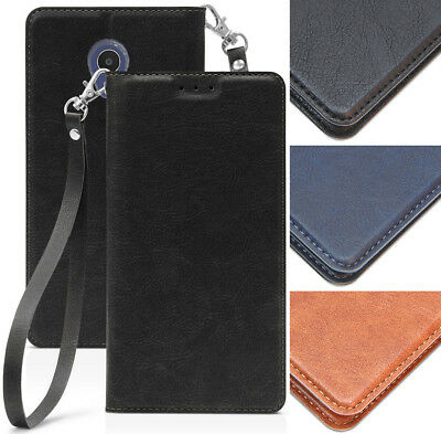 LEATHER WALLET CASE Cover Stand Wrist Strap Lanyard for Alcatel TCL LX  (A502DL)