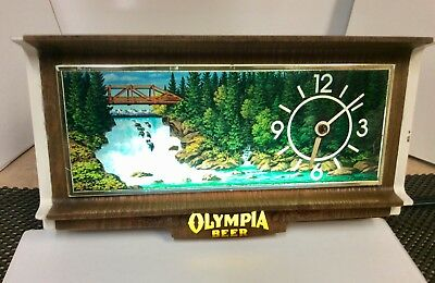 Vintage Olympia Beer Motion Light Clock Cash Register Topper Waterfall Oly Sign