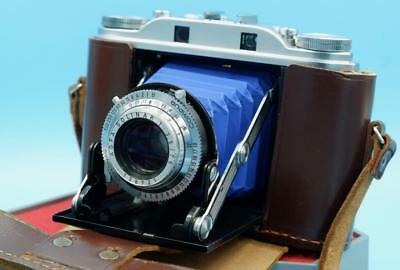 Agfa Isolette III f3.5 Solinar - NEW BLUE Bellows - CLA'd of course
