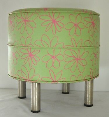 Retro Hassock Footstool Mid-Century Round Floral Pink & Green Print