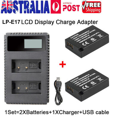 2Pcs LP-E17 Battery + LCD USB Dual Charger For Canon EOS 750D M3 Kiss X8i 8000D
