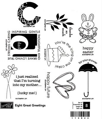 NEW Stampin Up! EIGHT GREAT GREETINGS wood stamp set - great variety
