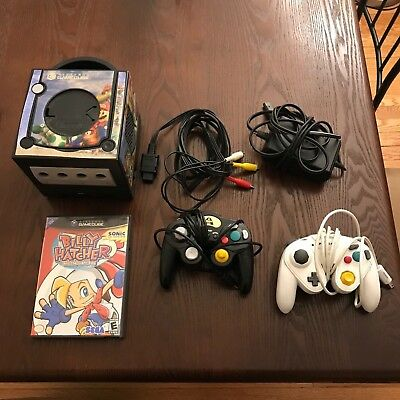 Nintendo Gamecube Bundle Jet Black Mario Console Two Controllers Billy Hatcher!