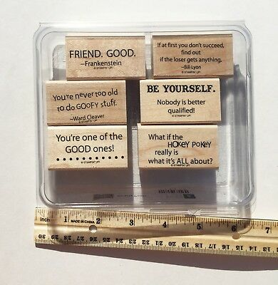 Stampin Up! SMARTY PANTS retired wood stamp set - Funny Phrases Humorous
