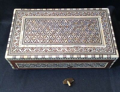Vintage Mother Of Pearl Hand Made Bovine marquetry Musical Jewellery Trinket Box