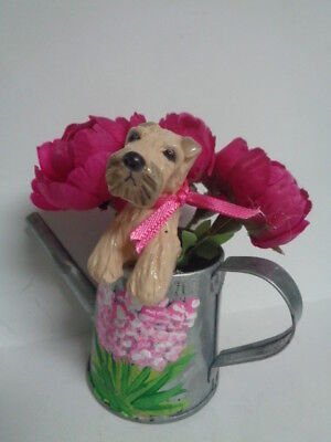 HAND SCULPTED DOG ART~~WHEATEN Terrier SPRING WATERING CAN WITH FLOWERS~~OOAK
