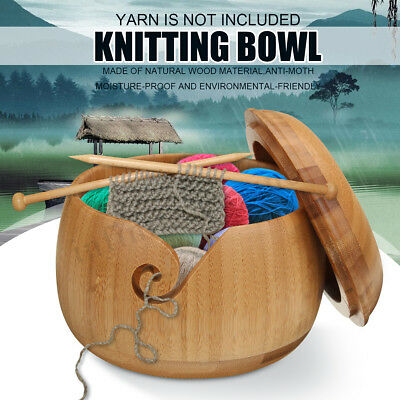 Details about  Bamboo Yarn Bowl Holder W/ Lid Wooden Yarn Skeins Knitting Croch