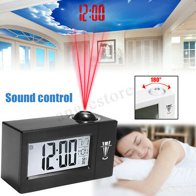 LCD Digital Snooze Alarm Clock Backlight LED Projector Projection Thermometer US