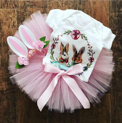 Newborn Baby Girls Easter Bunny Tops Romper Tutu Skirt Dress Outfits Clothes Set
