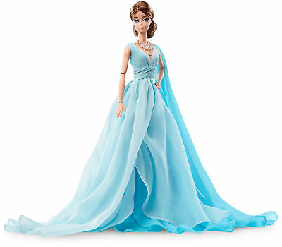 Doll Toy Poseable Fashion Model Collection Blue Chiffon Two-Toned Ball Gown