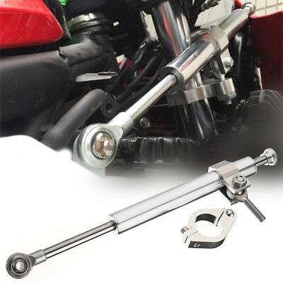 330mm Universal Aluminum Motorcycle Steering Damper Fork Stabilizer Silver New