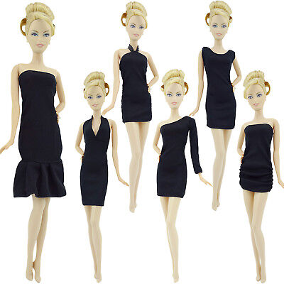 6x Classical Solid Black Halter Strapless Dress Outfit Clothes For 12 in. Doll