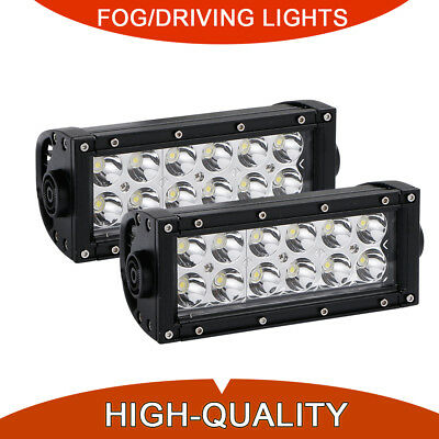 "2Pcs 7"" in 36W Double-Row LED Pods Work Light Bar Spot Beam Driving Offroad 4WD"