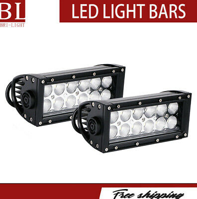"2x 7"" Inch 36W Flood Cree LED Work Light Bar Offroad ATV Fog Truck 4WD 12v Spot"