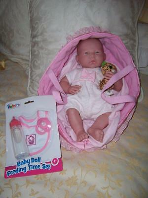 Berenguer Newborn Baby Doll Original Outfit Basket New Moc Bib Magic Milk Bottle