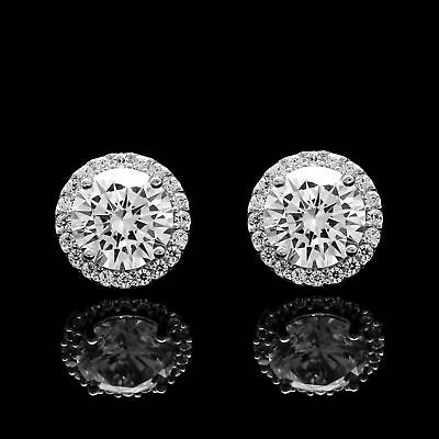 1.10 CT Round Diamond Halo Stud Earrings 14k White Gold Over Valentine Special