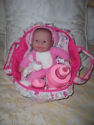 Lot Berenguer Baby Doll Vinyl Head Cloth Body Carry Basket Pretend Play Items
