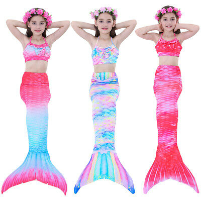 Kids Girls Swimmable Mermaid Tail with Bikini Swimsuit Swimming Costumes New