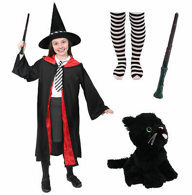 Childs School Witch Costume Girls World Book Day Fancy Dress Outfit Halloween