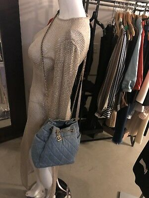 033211ccc6c6 Stunning 100% Auth CHANEL Light Blue Denim Urban Spirit Drawstring Shoulder  Bag