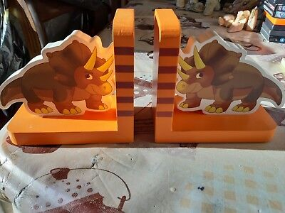 Children's Wooden Dinosaur Bookends - New in Box