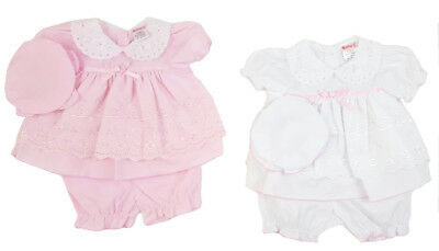 Baby Girls Spanish Style Romany Broderie Anglaise Dress Knickers /& Headband SS19