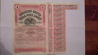Corocoro united copper mines limited action share Londres 1910 mineur décor