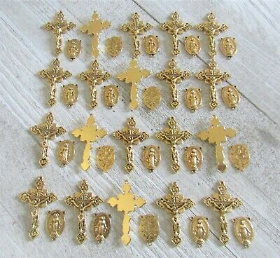 Lot 40 Rosary Crucifixes crosses & Miraculous Centers rosaries Antique GOLD NEW