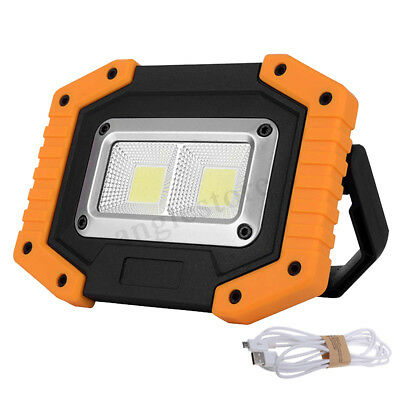 2 COB 30W 800LM Rechargeable IP65 Portable LED Flood Light Spot Lamp Outdoor US