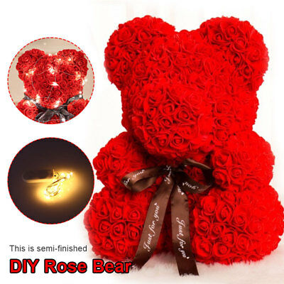 Teddy Bear Lovely Big Red Rose Flower Bear Toys DIY Creative Mother's Day Gifts