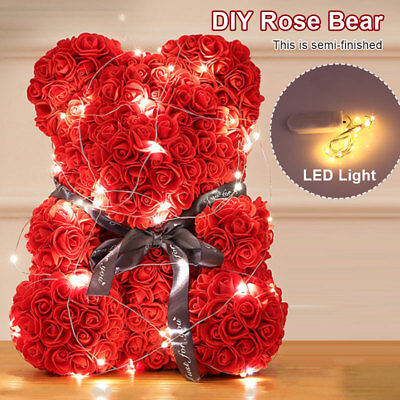 DIY Rose Bear Toy Women Flower Birthday Mother's Day Wedding Party Doll Gifts