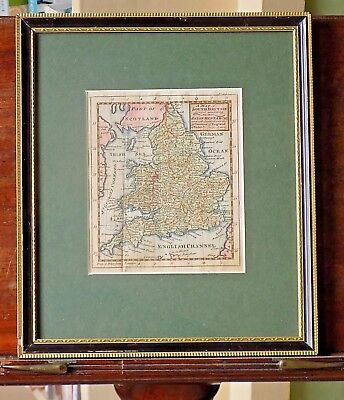 1738 Miniature Map England Wales Cowley Bowen Hubner Old Antique13x12cms London