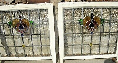 Antique  Pair Leaded Glass Windows. Heart-Shaped with Wings. 8892