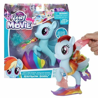New My Little Pony The Movie Rainbow Dash Glitter & Style Seapony MLP Official