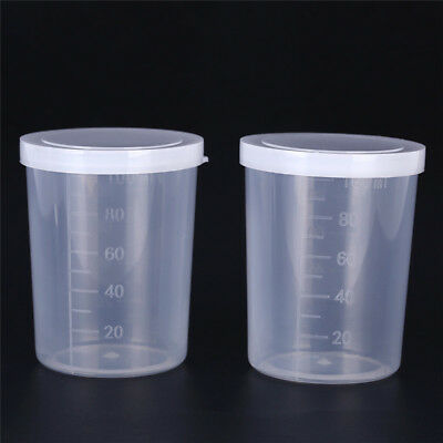 Plastic graduated laboratory bottle test measuring 100ml container cup with cap^