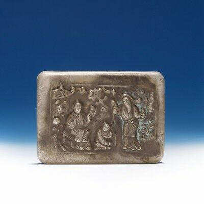 Marvelous Chinese Qing Dynasty Antique Cupronickel Characters Old Ink Box SA156